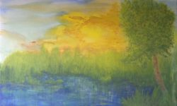 """Meadowy Countryside in Spring"" · 2017 · Acryl auf Leinwand · 70 x 100 cm · Original Malerei ZU VERKAUFEN"